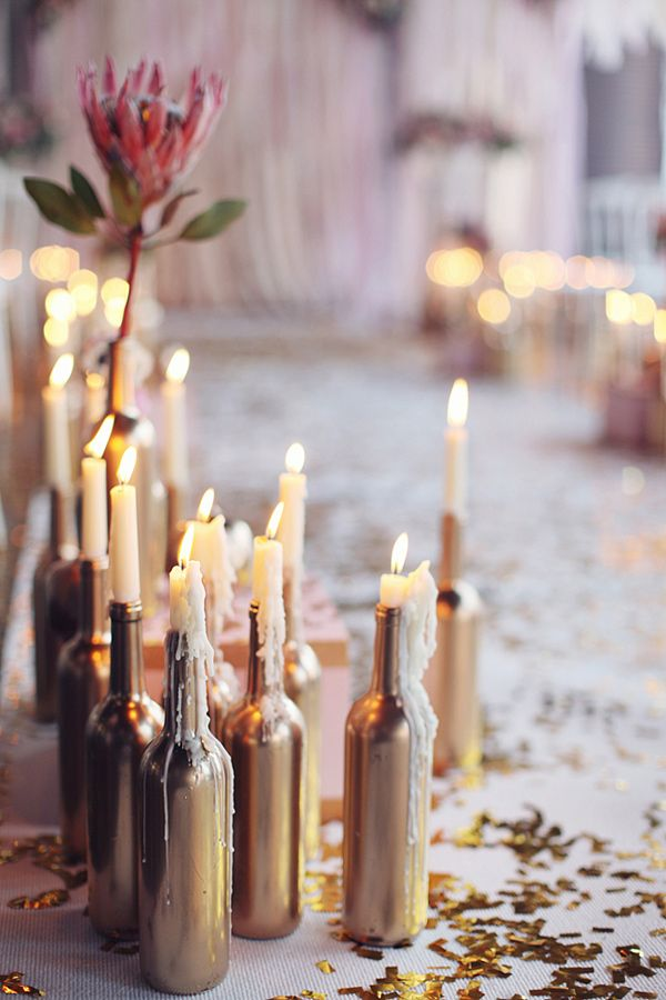 Wine Bottle Candlestick Holder
